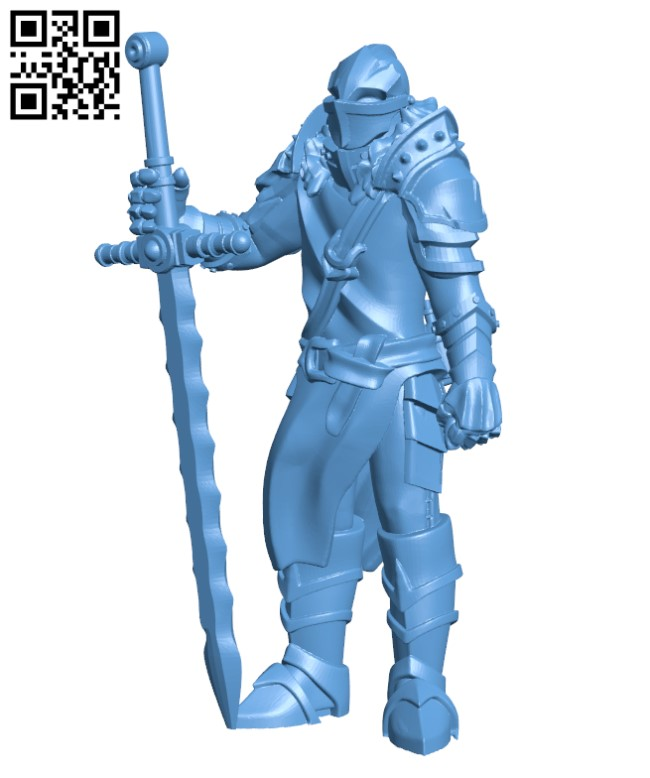 Fantasy medieval knight warrior with great sword H000364 file stl free download 3D Model for CNC and 3d printer