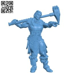 Female Barbarian H000232 file stl free download 3D Model for CNC and 3d printer