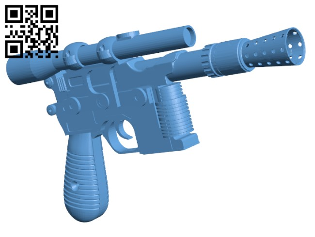 Han Solo Blaster H000326 file stl free download 3D Model for CNC and 3d printer