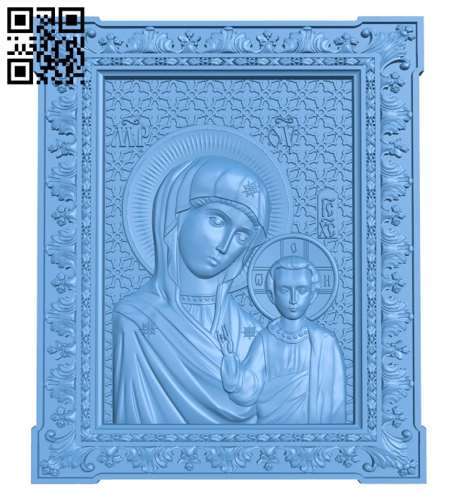 Icon Our Lady of Kazan A006564 download free stl files 3d model for CNC wood carving