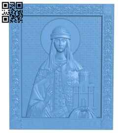 Icon of the Holy Princess Olga A006565 download free stl files 3d model for CNC wood carving