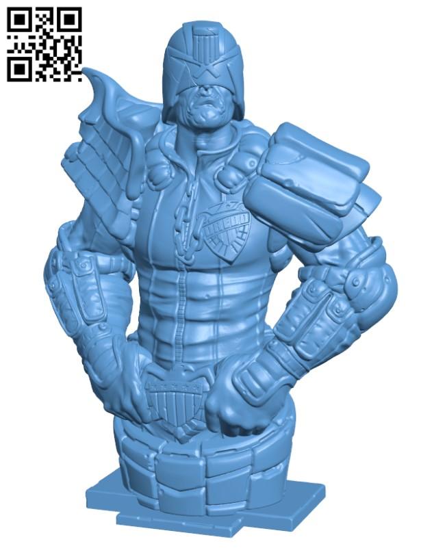 Judge Dredd bust H000406 file stl free download 3D Model for CNC and 3d printer