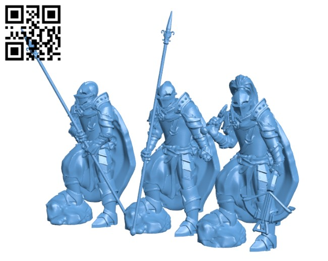 Medieval Knight Squad H000481 file stl free download 3D Model for CNC and 3d printer