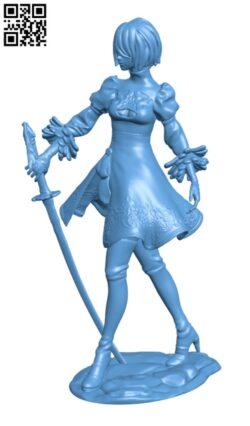 Nier Automata – Women 2B H000210 file stl free download 3D Model for CNC and 3d printer