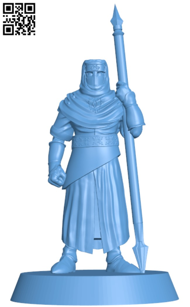 Night's Cult soldier with spear pose H000014 file stl free download 3D Model for CNC and 3d printer