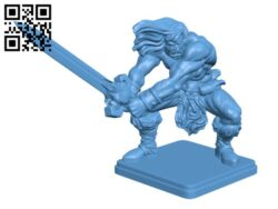 Oldhammer Barbarian H000286 file stl free download 3D Model for CNC and 3d printer