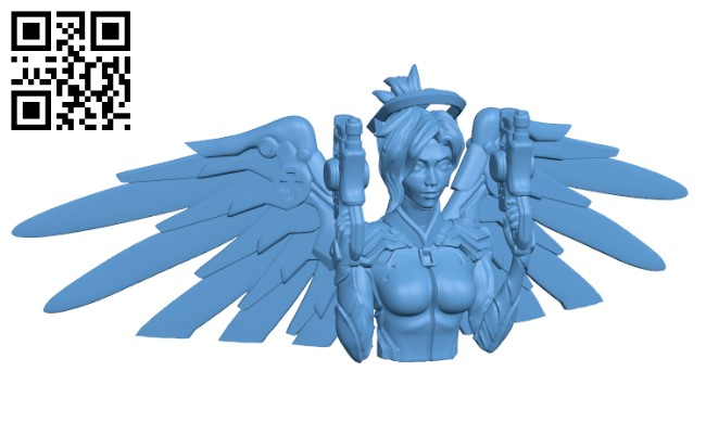 Overwatch - Mercy Bust -Women H000411 file stl free download 3D Model for CNC and 3d printer