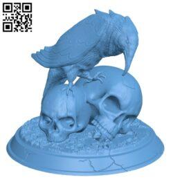Raven Skull H000289 file stl free download 3D Model for CNC and 3d printer