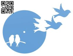 Silhouette Style Bird Clock H000075 file stl free download 3D Model for CNC and 3d printer