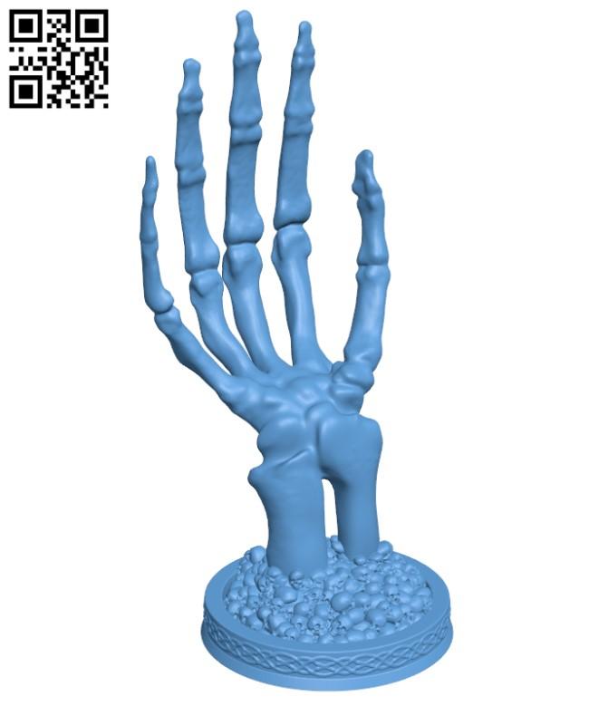 Skeletal Hand stand H000292 file stl free download 3D Model for CNC and 3d printer