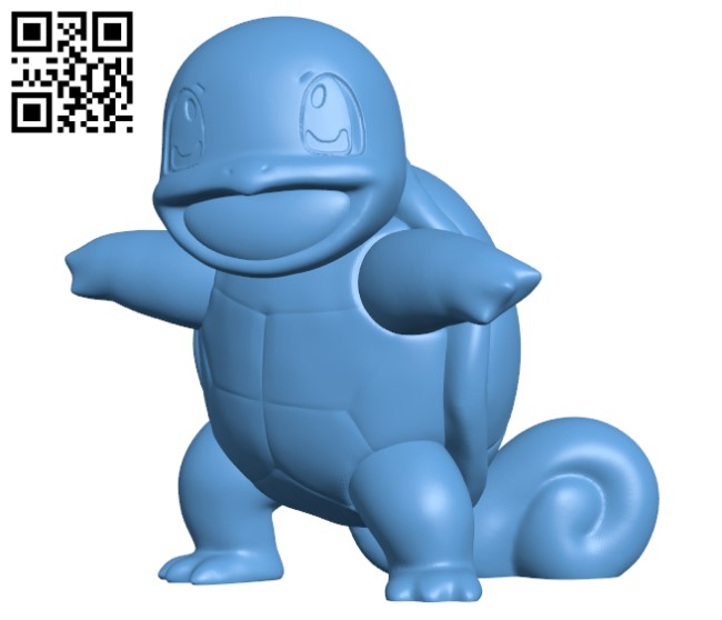 Squirtle (Pokemon} H000246 file stl free download 3D Model for CNC and 3d printer