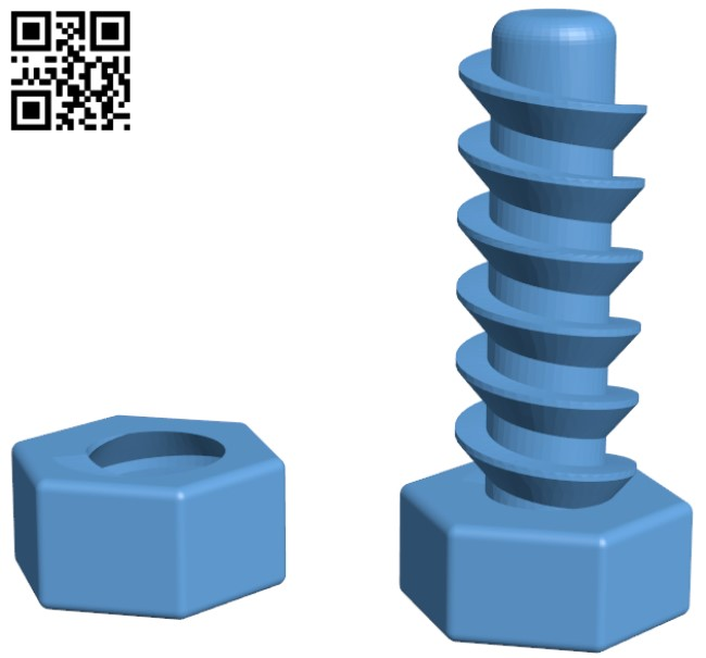 Strong Bolt H000010 file stl free download 3D Model for CNC and 3d printer