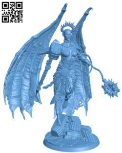 Zadkiel the Fallen H000221 file stl free download 3D Model for CNC and 3d printer