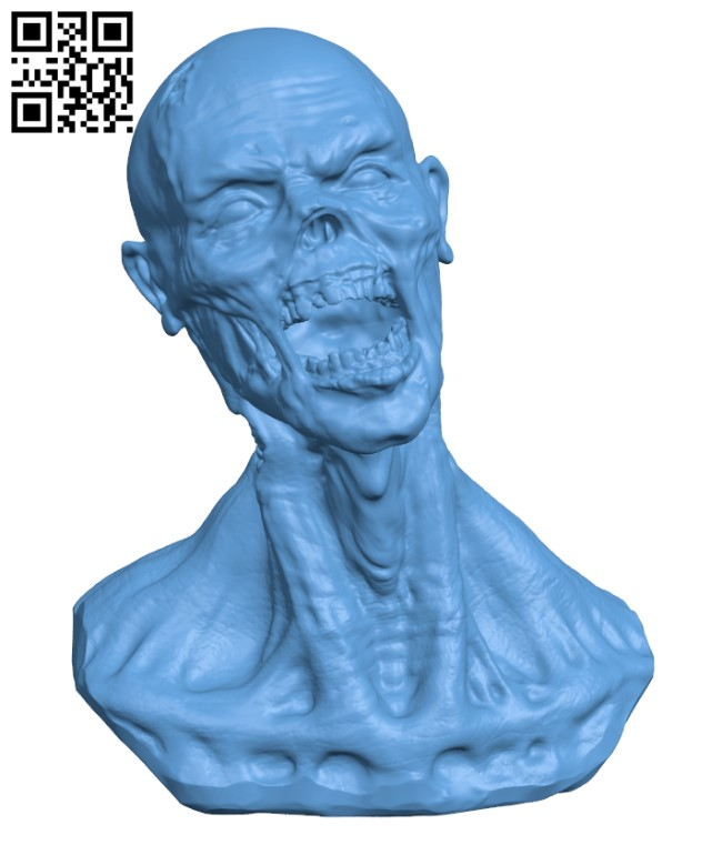 Zombie Bust H000377 file stl free download 3D Model for CNC and 3d printer