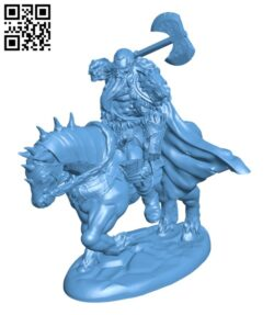 Barbarian Chief on Horsesback H000754 file stl free download 3D Model for CNC and 3d printer