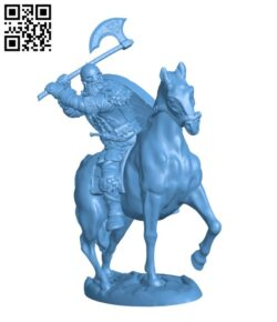 Berserker on horseback H000814 file stl free download 3D Model for CNC and 3d printer
