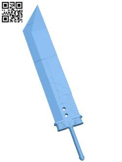 Buster Sword H000873 file stl free download 3D Model for CNC and 3d printer