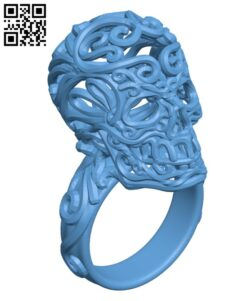 Day of the dead ring ( Halloween ) H001096 file stl free download 3D Model for CNC and 3d printer
