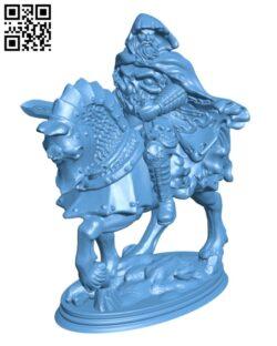 Death Knight on horseback H000524 file stl free download 3D Model for CNC and 3d printer
