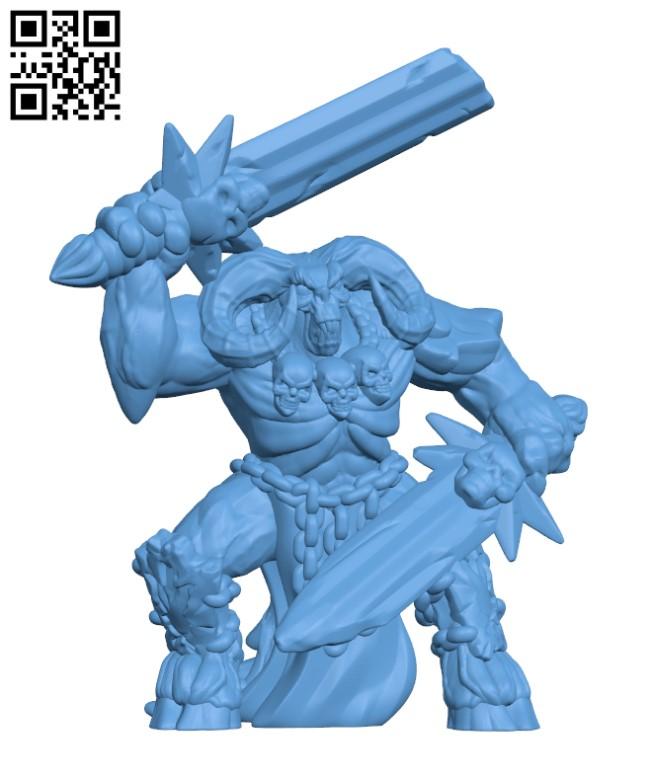 Demon warrior H000822 file stl free download 3D Model for CNC and 3d printer