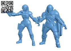 Din Djarin and Cara Dune – The Mandalorian H000758 file stl free download 3D Model for CNC and 3d printer