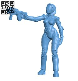 Droid android robot woman with pistol H000526 file stl free download 3D Model for CNC and 3d printer