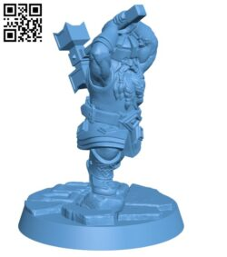 Dwarf with hammer H000697 file stl free download 3D Model for CNC and 3d printer