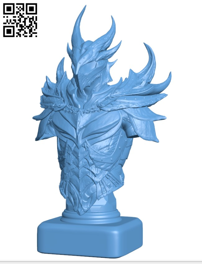 Elder Scrolls Skyrim Daedric Armor Bust H000500 file stl free download 3D Model for CNC and 3d printer