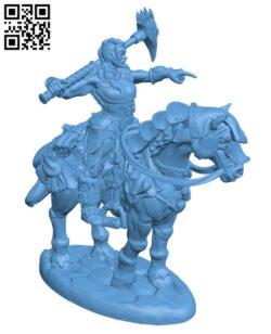 Female Barbarian on Horseback H000909 file stl free download 3D Model for CNC and 3d printer