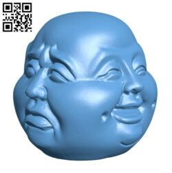 Four Face Buddha H000501 file stl free download 3D Model for CNC and 3d printer