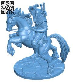 Geralt on horseback H000669 file stl free download 3D Model for CNC and 3d printer