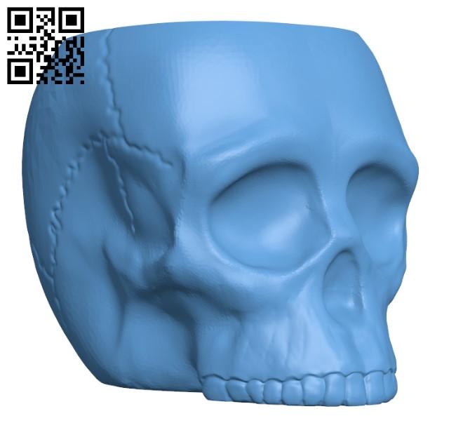 Grim Skull Vase H000731 file stl free download 3D Model for CNC and 3d printer