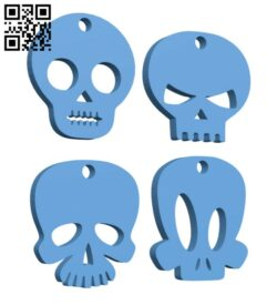 Halloween skull earrings H000936 file stl free download 3D Model for CNC and 3d printer