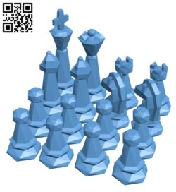 Low Poly Chess Set H000592 file stl free download 3D Model for CNC and 3d printer