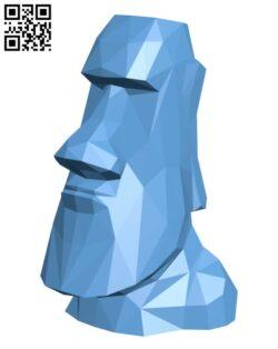 Moai Single Flower Vase H000770 file stl free download 3D Model for CNC and 3d printer