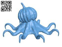 Octosquash – Halloween Pumpkin gone mollusc H000946 file stl free download 3D Model for CNC and 3d printer