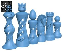 Organic Chess Set H001296 file stl free download 3D Model for CNC and 3d printer