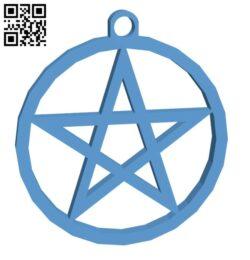 Pentagram keychain H000948 file stl free download 3D Model for CNC and 3d printer