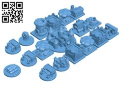 Root buiding and token miniatures  H000622 file stl free download 3D Model for CNC and 3d printer