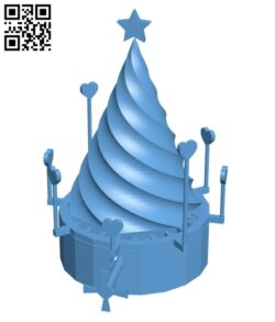 Rotating Christmas Tree H001001 file stl free download 3D Model for CNC and 3d printer