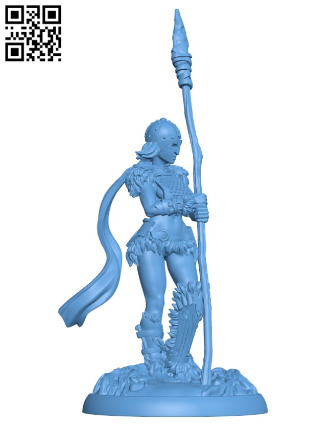 Spear Maiden H000894 file stl free download 3D Model for CNC and 3d printer