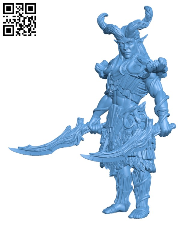 Wood Elf - Warrior 02 H000809 file stl free download 3D Model for CNC and 3d printer