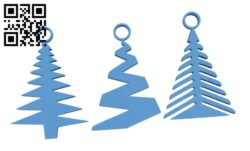 Xmas tree earrings set H001017 file stl free download 3D Model for CNC and 3d printer